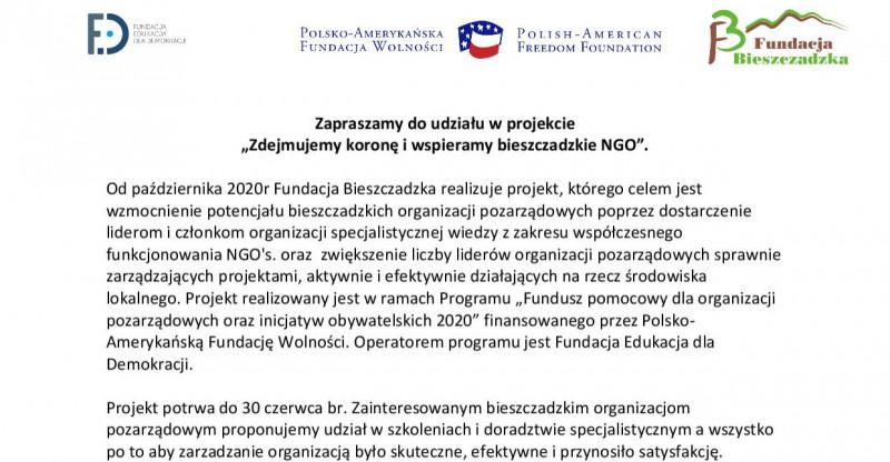 """Zapraszamy do udziału w projekcie """"Zdejmujemy koronę i wspieramy bieszczadzkie NGO""""."""