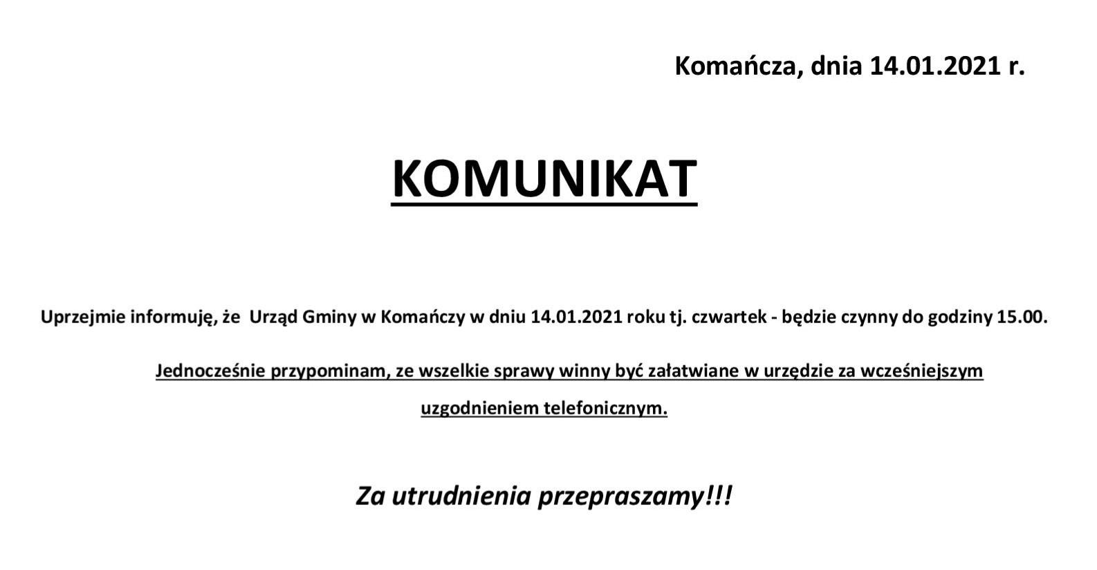 Informacja o godzinach pracy Urzędu Gminy Komańcza w dniu 14 stycznia 2021 roku