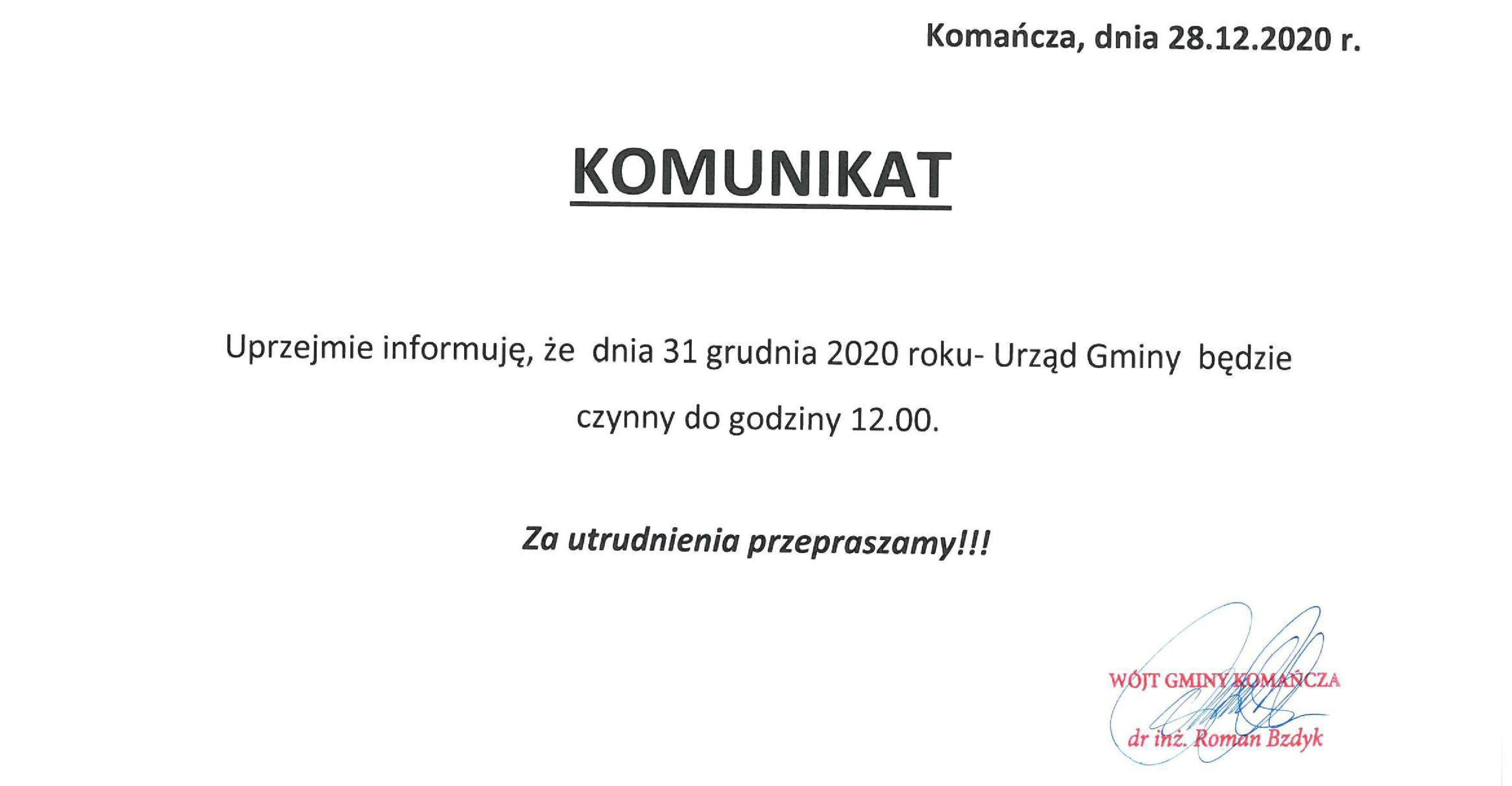 Informacja o godzinach pracy Urzędu Gminy Komańcza w dniu 31 grudnia 2020 roku