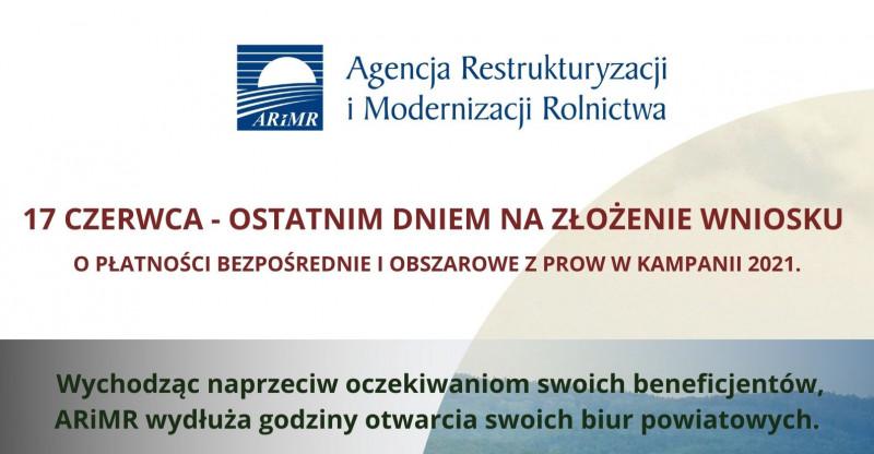 Dopłaty 2021: 17 czerwca ostatnim dnie na złożenie wniosku o płatności bezpośrednie i obszarowe z PROW w kampanii 2021.
